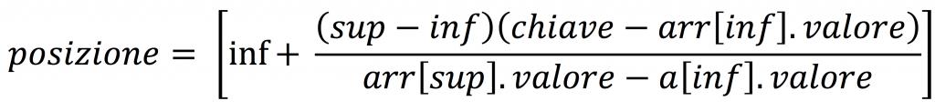 Ricerca di un elemento in un array: formula della ricerca interpolata.